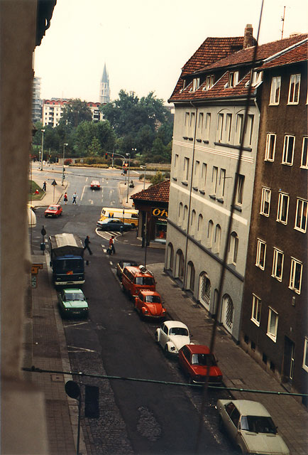 Blick aus der Schlostrae auf Ackerhof und Schlopark 1981