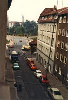 Blick aus der Schloßstraße auf Ackerhof und Schloßpark 1981